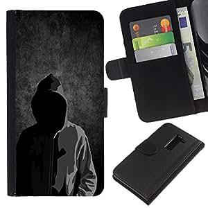 All Phone Most Case / Oferta Especial Cáscara Funda de cuero Monedero Cubierta de proteccion Caso / Wallet Case for LG G2 D800 // Anonymous Faceless Mask Hood Sweatshirt Man