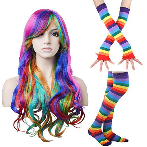 """Price comparison product image 27.5"""" Long and Wavy Rainbow Wig for Women Harajuku Style Costume Wigs with Colorful Stripe Long Knit Gloves Socks Set for Halloween Cosplay/Party Lolita (Rainbow Wig+Gloves Socks Set)"""