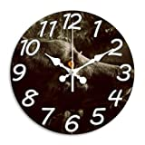 Monica M Joheson Large Wall Clock 11.8 Inch Round Easy to Read Wallclock White Nice Decor for Bedroom/Living Room/Kitchen Arabic Numeral Battery Operated Quartz Silent Non Ticking