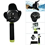 Andoer SHOOT Portable Diving Fisheye Dome Port Accessory for Xiaomi Yi Diving Camera Sports Action Cam Underwater Photography Waterproof 40M with Floaty Grip