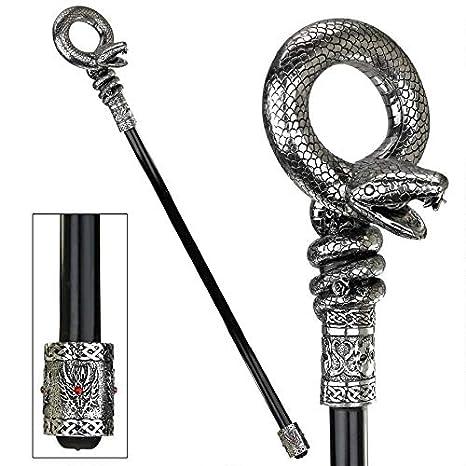 Gothic Shepherd/'s Crook Dragon Handle Ebony Metal Cane Walking Stick
