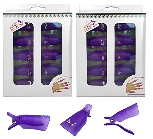 Pana 20 Pieces PURPLE Reusable Acrylic Nail Soak Treatment UV Gel Polish Remover Clip Cap Manicure Tool