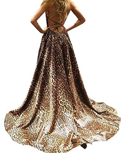 Length Vestito Full Coolred Fionda Kaki Elegante Leopardo Backless donne Spaccato q8wv0