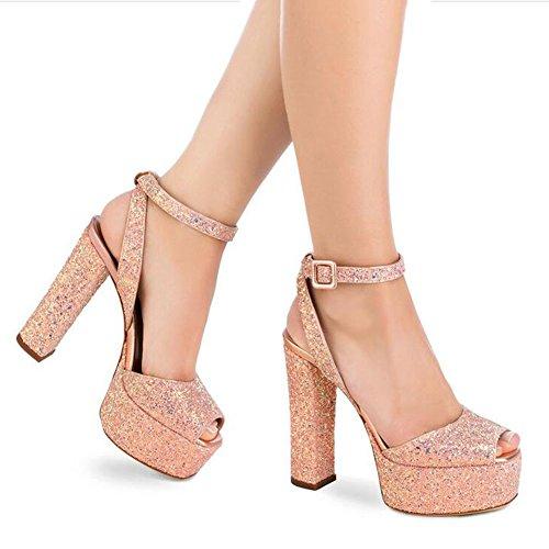 43 Impermeable bajo Color de Sexy Tacón Plataforma Fish Mouth Mujer y Ladies de Europeos 6 Americanos Tamaño Zapatos Sandalias vZq6Uwv