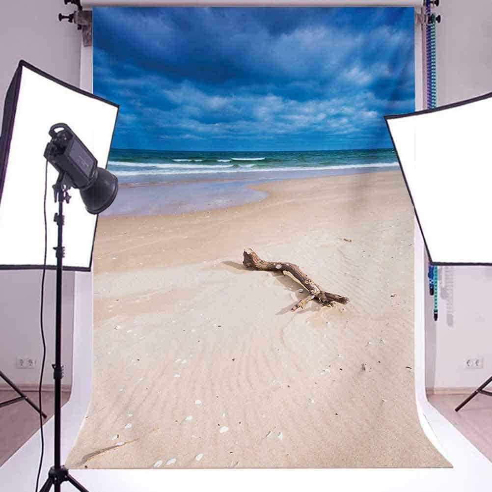 Driftwood 10x12 FT Backdrop Photographers,Driftwood on The Deserted Sandy Beach and The Cloudy Sky Digital Style Image Background for Photography Kids Adult Photo Booth Video Shoot Vinyl Studio Props