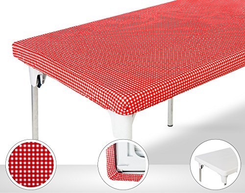 Plastic Table Christmas Cover (TopTableCloth Table Cover Red & White Checker Elastic on the corner for folding table 6ft (30