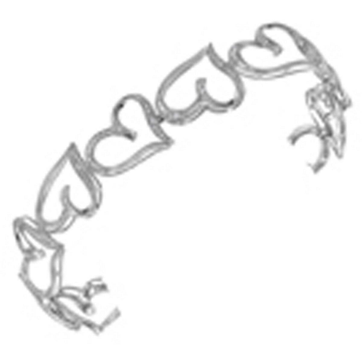 10kt White Gold Womens Round Diamond Heart Love Bangle Bracelet 1/8 Cttw (I2-I3 clarity; J-K color)