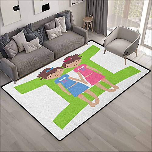 Bedroom Rug,Zodiac Gemini Green Sign Background with Twin Girl Cartoon Characters for Teens and Kids,Rustic Home Decor,6'6