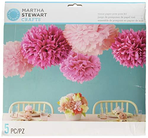 Martha Stewart Crafts Pom Poms, Pink, 2 Sizes (Stewart Party Supplies Martha)