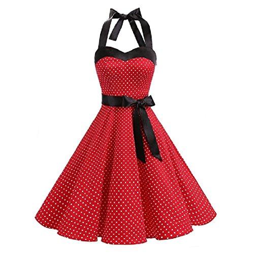 Coolred-femmes Impression Vendange Audrey Hepburn Licou Évasé Une Robe Swing Ligne Pattern3