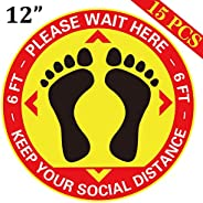 15PCS Social Distance Floor Decals Stickers - Keep Safe Sign for Grocery, Crowd Control Guidance, Pharmacy, Ba
