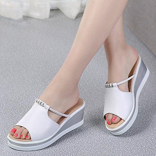OME&QIUMEI Pisten Mit Damen Sandalen Schuhe Weiß Krankenschwestern Spieße Hausschuhe Hochsommer Root'S Dicken Äußeren Verschleiß Frauen Schuhe Weiß