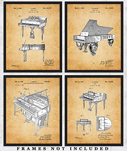 Vintage Piano Patent Wall Art Prints: Unique Room Decor for Boys, Men, Girls & Women - Set of Four (8x10) Unframed Pictures - Great Gift Idea for All Piano Players and Music Lovers!