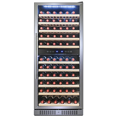 Zone Reviews Wine Dual Cooler (FIREBIRD 116 Bottle Dual Zone Freestanding Electric Wine Cooler Chiller Refrigerator w/ Touch Control Built-in Compressor)