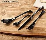 FUT Stainless Steel Cutlery Set,Flatware Set Person, Kitchen Silverware Including Spoon, Teaspoon, Knife, Fork Tableware Dinnerware Anti-rust Utensil Set, Steak Knife Set for 4, (Black)