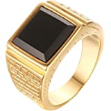 CARTER PAUL Men's Stainless Steel Black Onyx Gold Ring Europe and America Style