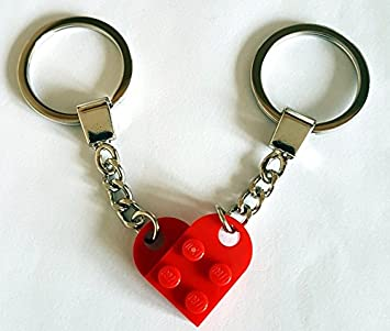 LEGO 2 x Love Heart Keychains Dark Red /& Blue Keyring Valentines Gift Birthday