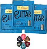 Guitar Strings Electric (Pack of 3 Sets) Nickel Wound Super Light By Legato With 6 Assorted Gauge Guitar Picks (Light, Medium and Heavy) Bundle