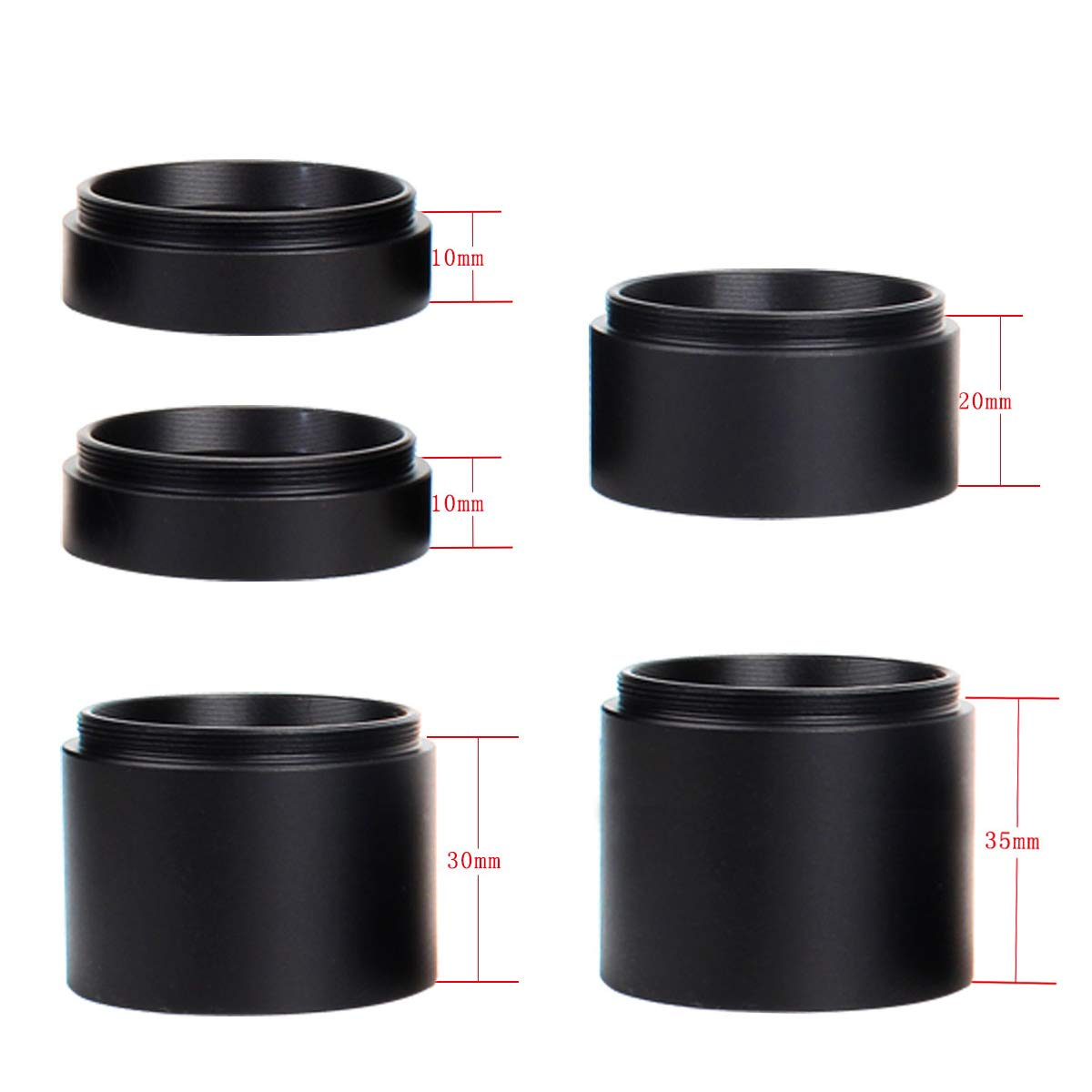 Gosky Astronomical M48 Extension Ring Kit - Extension Tube Adapter 5 pcs- Length 10mm 10mm 20mm 30mm 35mm - M48x0.75 on Both Sides - Accept 2inch Filters by Gosky