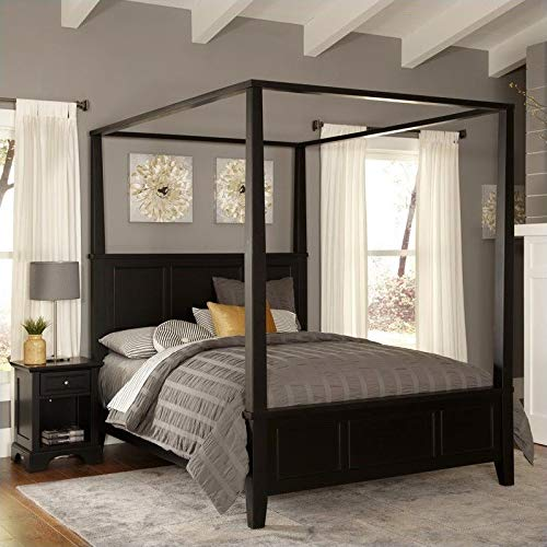 Bedford Black King Canopy Bed & Night Stand by Home Styles