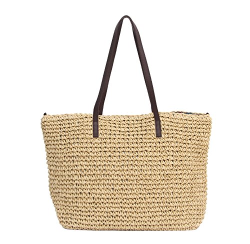 Sornean Large Handmade Straw Summer Beach Tote Sea Shoulder Handbag for Women (Khaki)