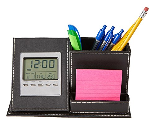 Mind Reader Desk Supplies Organizer with Built in Clock For Pens, Pencils, Paperclips, and Desk Accessories, Faux Leather