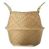 Seagrass Belly Basket Storage Plant Pot Foldable Nursery Laundry Bag Room Decor