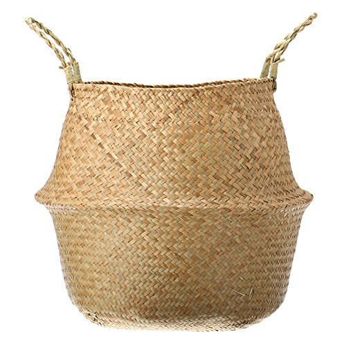 Seagrass Belly Basket Storage Plant Pot Foldable Nursery Laundry Bag Room Decor by Unknown (Image #3)