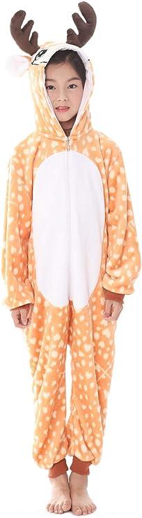 Tickos Unisexo Niños Animal Onesies Gracioso Animal Pijama Pijama Halloween Disfraces Monos (120CM, Alce)