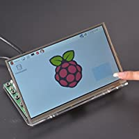 GeeekPi Raspberry Pi 7 inch 1024x600 LCD Touch Screen TFT LCD Display & Tranparent Clear Acrylic Bracket Holder (Touch Screen+Acrylic Bracket)