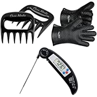 2PCS Oven Moda Silicone Cooking Barbecue Gloves,Thermometer,2PCS Claws for Grilling,BBQ,Kitchen