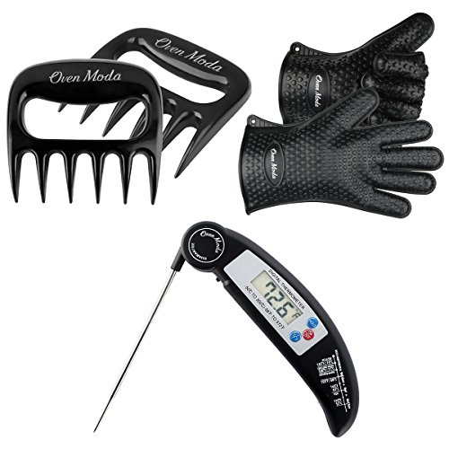 - 2PCS Black Silicone Cooking Barbecue Gloves-Digital Meat Food Thermometer-2PCS Meat Claws,Heat Resistant Oven for Grilling,BBQ,Kitchen