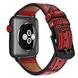 Juzzhou Bands Leather Replacement Wriststrap Wristband Watchband Wrist Strap Band For iWatch Apple Watch Series 1/2/3 Sport Edition With Metal Adapter Adjustable Buckle Clasp For Woman Lady Red 42mm