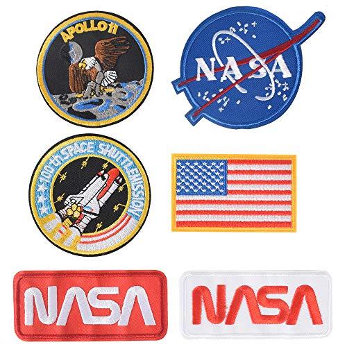 TACVEL 6PCS NASA Embroidered Patch Iron on Logo Clothes Jacket Cap DIY NASA Patch NASA Space Fans