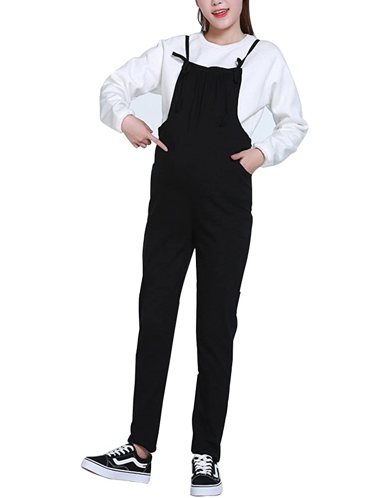 Sobrisah Pregnant Women's Playsuit Belly Care Maternity Trousers Dungarees Jumpsuit Suspenders Cotton and Linen Large Size Baggy Pants for Spring and Autumn