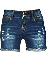 Women's Sexy Stretchy Fabric Hot Pants Distressed Denim Shorts,Size 2-16