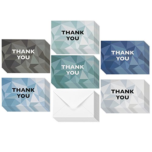 Thank You Cards - 48-Count Thank You Notes, Bulk Thank You Cards Set - Blank on the Inside, 6 Stained Glass Pattern Designs – Includes Thank You Cards and Envelopes, - Glass Stained Card
