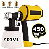 Paint Sprayer Electric Spray Gun HVLP Home Paint Sprayer with Three Spray Patterns, Three Nozzle Sizes, 900ML Detachable Container + 6.5ft Power Line for Indoor and Outdoor