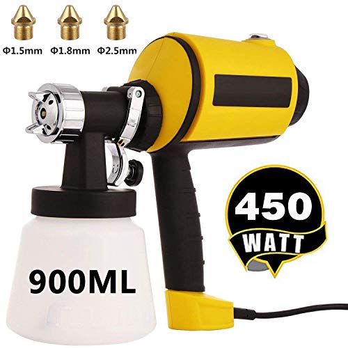 Paint Sprayer Electric Spray Gun HVLP Home Paint Sprayer with Three Spray Patterns, Three Nozzle Sizes, 900ML Detachable Container + 6.5ft Power Line for Indoor and Outdoor (Weathered Outdoor Furniture Painting)
