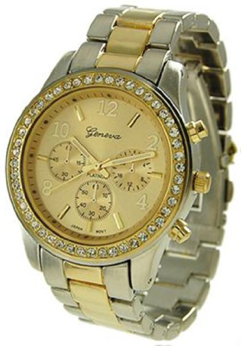 Gold Silver Geneva Crystal Rhinestone Chronograph Watch with Two Tone Metal Link Band ()
