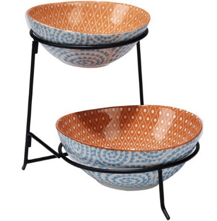 Chelsea Mix and Match Aqua Ceramic Swirl 2-tier Server with Bowls, Hand-painted, Lead-free Ceramic, Sturdy and Stylish, (Chelsea Server)