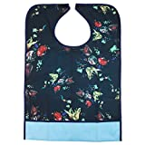 Adult Mealtime Protector Waterproof Pocket Bib Disability Aid Apron Washable with Crumb Catcher - one size