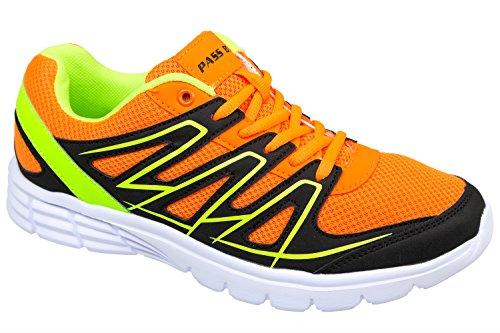 gibra® Zapatos de deporte hombre, muy ligera y cómoda, Naranja/Verde neón, talla 41–46 orange/neongrün
