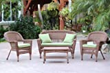 Jeco W00205-G-FS029 4 Piece Wicker Conversation Set with Green Cushions, Honey