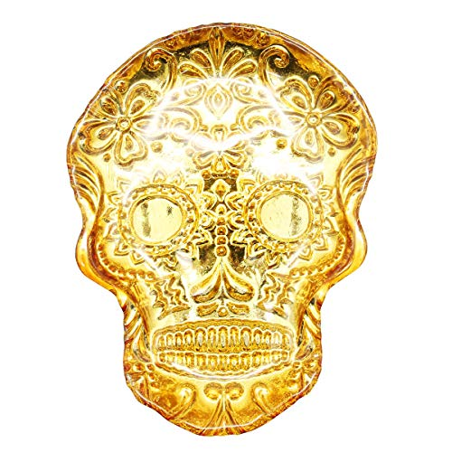 Sugar Skull Dish Glass Embossed Shallow Bowl Trinket Gold Dessert Plate Party Dishes Cake Platter Candy Dishes (gold)