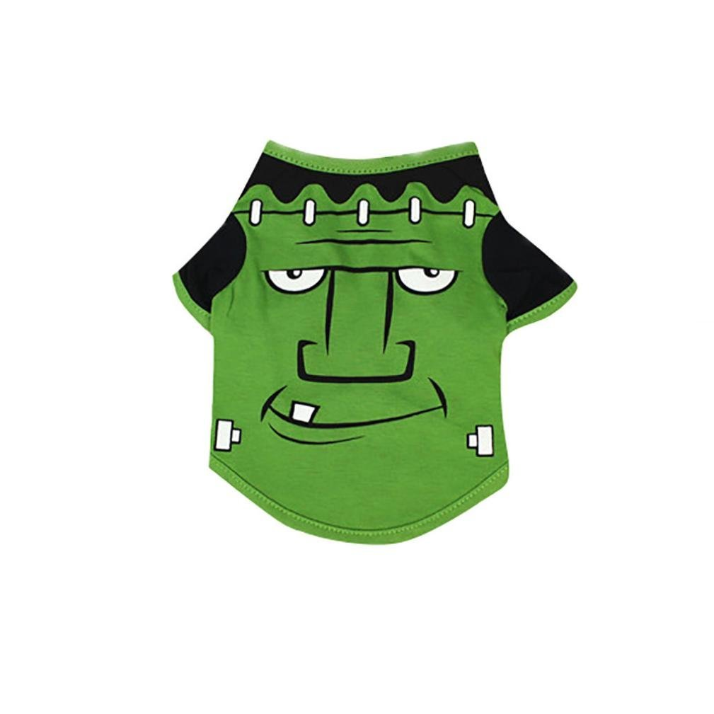 Halloween Pet Shirt Wakeu Small Dog Puppy T-Shirts Costume Clothes (S, Green)