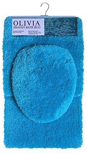 Popular Bath Bath Rug, Shaggy Olivia Collection, 3-Piece Set, Teal ()