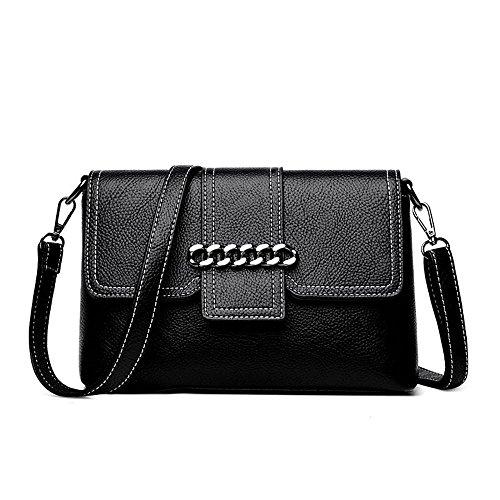 Penao cadena de decoración solo bolso, bolso de Mensajero de mano de señora moda pu lady, tamaño 26cmx9cmx17cm Black