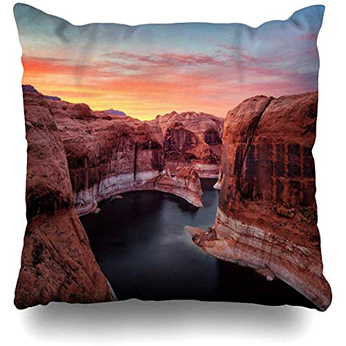 (Throw Pillow Cover Square Cases 18x18 Blue America Capitol Reef Sunset Holidays Amazing Glen Nature Area Arizona Awesome Camping Design Rock Zippered Cushion Case Home Decor)
