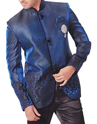 INMONARCH Mens Royal Blue 4 pc Tuxedo Suit Nehru Collar Royal-Blue TX0750R44 from INMONARCH